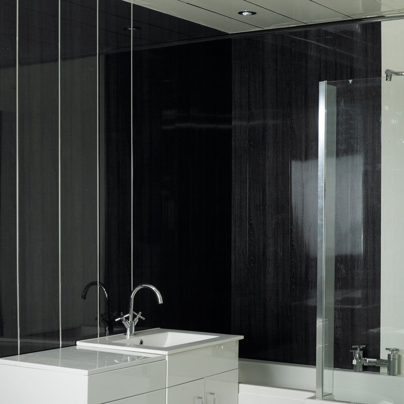 Black Wall Paneling : Black wood bathroom cladding direct
