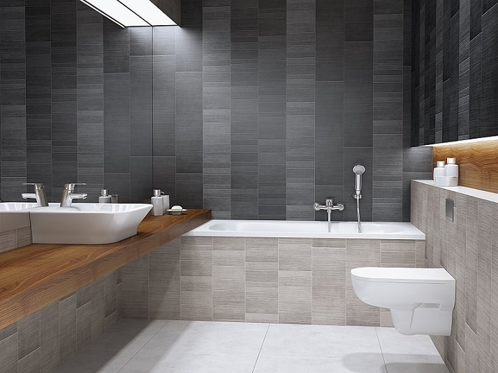 Wood cladding bathroom - Graphite Small Tile Bathroom Cladding Direct