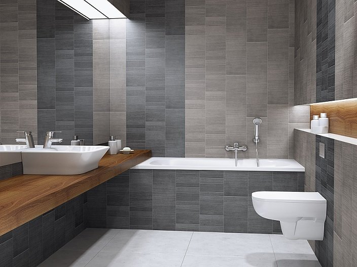 Anthracite Large Tile Bathroom Cladding Direct