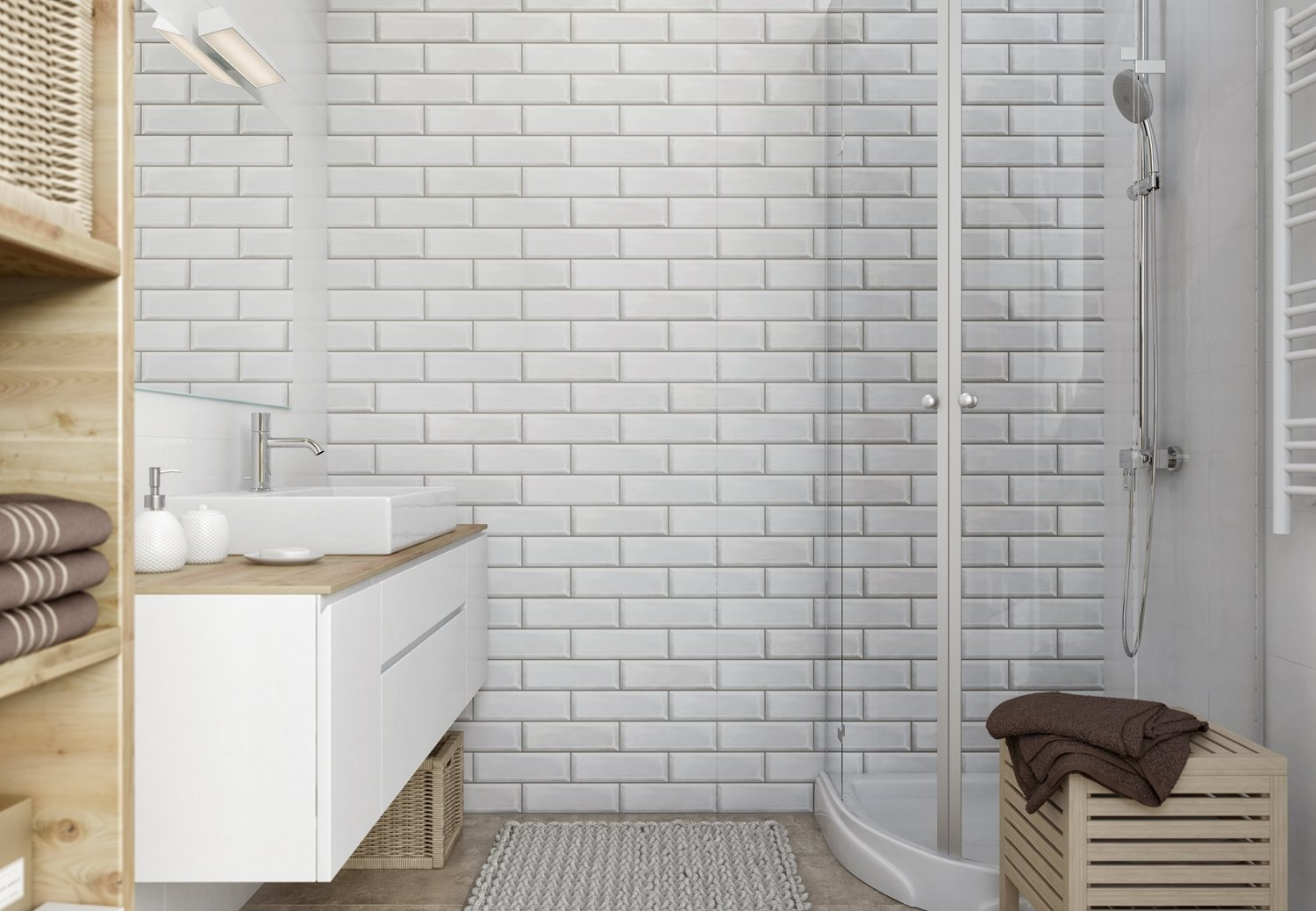 White Brick Bathroom Cladding Direct
